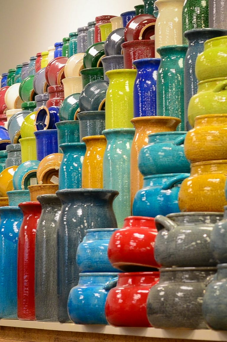 Michael Carr Designs Pottery Showcase Wall of Color