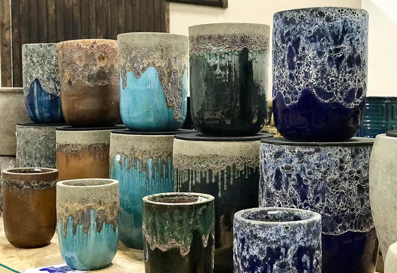 Michael Carr Designs Pottery Showcase Highlights Tall Round Volcanic Glazed Pottery