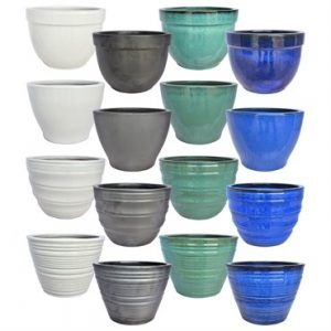 Vietnamese Glazed Pottery Round Planter Economy Collection 144pc Assortment Mix A
