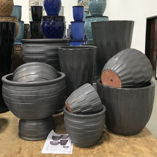 Vietnamese Techno Planter Assortment in Matte Black at Pottery Showcase
