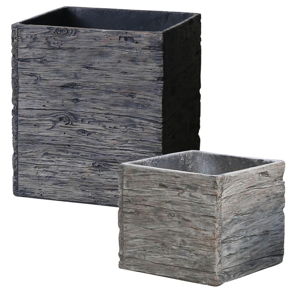 Liconfiber 48pc Old Plank Planter Dark Barn Gray