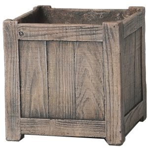 100580BDWDBROWN 3pc Square Barn Planter in Wood Brown