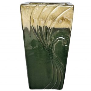 2418ABBCGLGRN 2pc Tall Bouquet Planter in Brown Cream on Glass Green