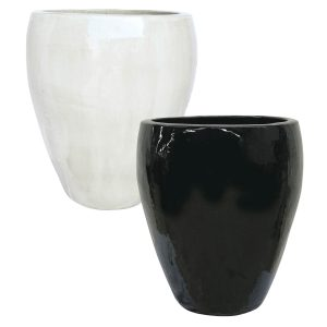 Michael Carr Designs Pottery 12pc Assortment GLB252MIXL - Tall Hipster Collection - Mix L White & Glossy Black