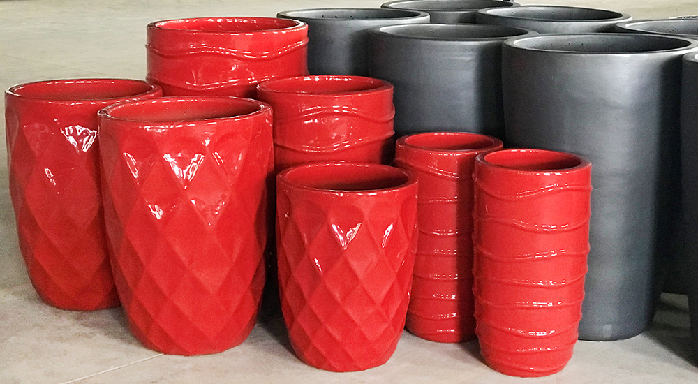 Michael Carr Designs - Vietnamese Glazed Pottery - Brilliant Red and Matte Black Pottery in Factory Setting